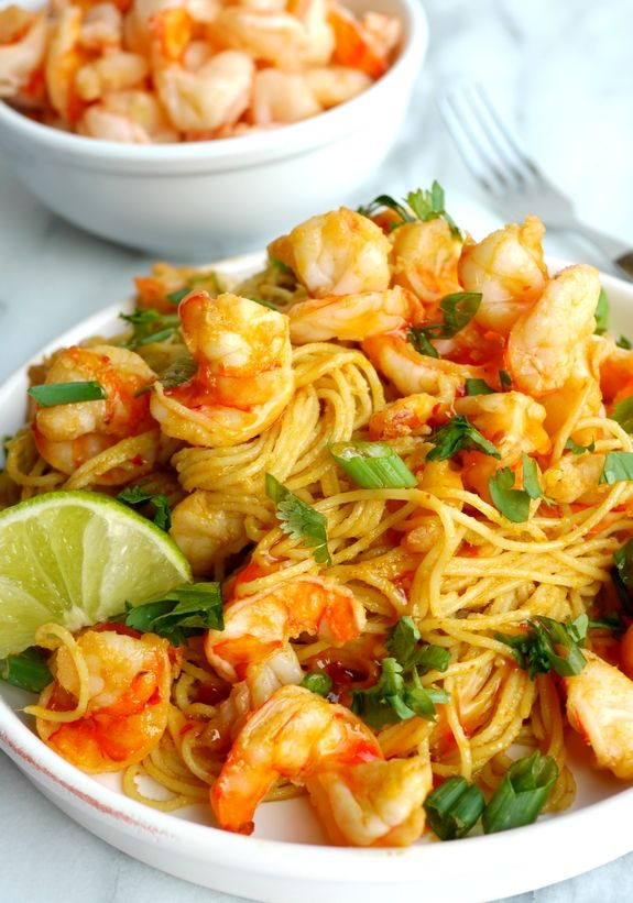 Spicy Thai Shrimp Pasta Is Filled With Flavors The Entire Family Will Love Easy Pasta Recipes Pasta Recipes Indian Food Network Recipes