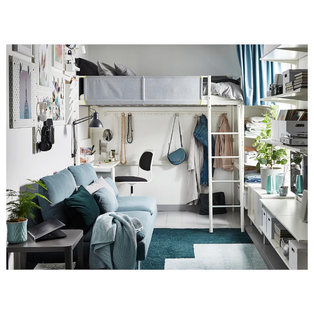 VITVAL Loft bed frame with desk top white, light gray
