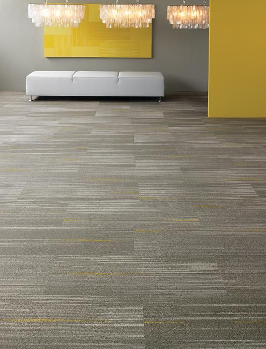 Carpet Tiles Grey Is Subtlety Highlighted With Yellow