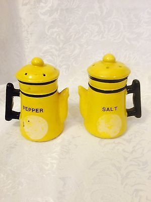 Vintage Yellow Coffee Pot Ceramic Salt & Pepper Shakers 50's.