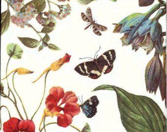 Decoupage NapkinsGarden with Flowers Bird by Chiarotino on Etsy