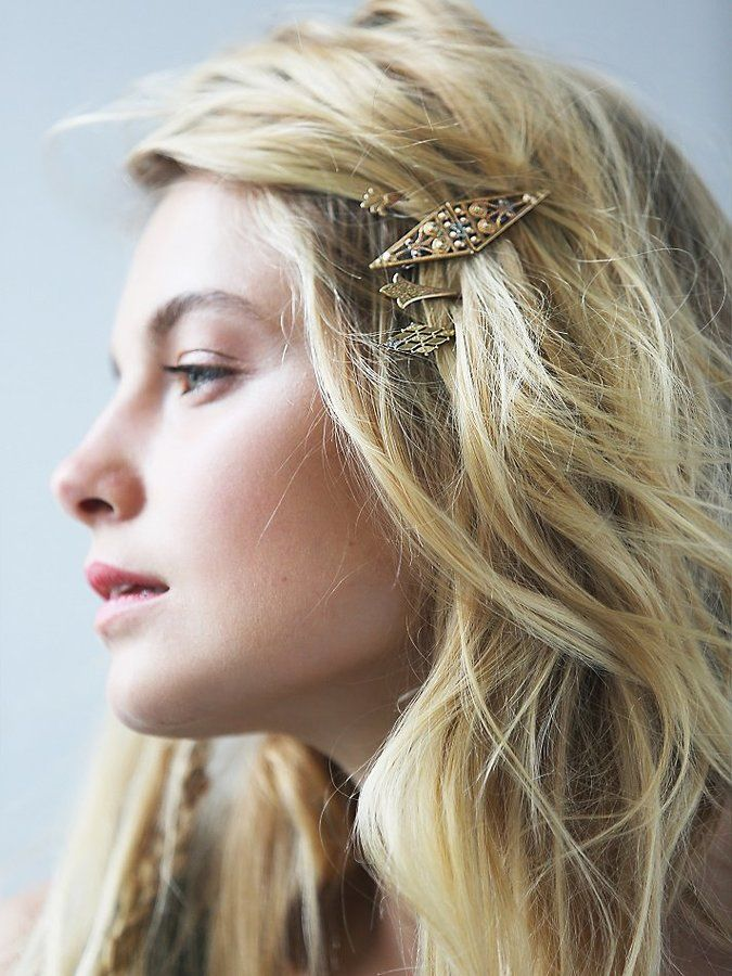 Barrette Hairstyles Enchanting Free People Tarnished Barrette Set Hairstyles  Hairstyles