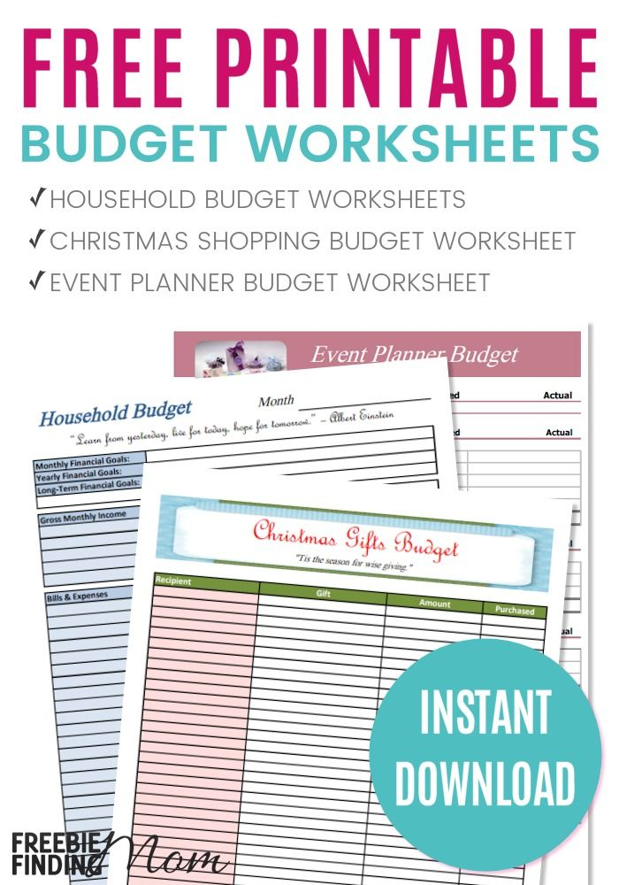 FREE Printable Budget Worksheets \u2013 Download or Print Printable