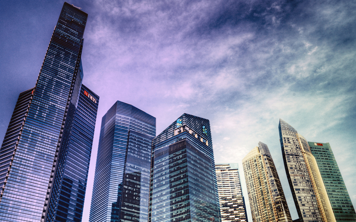 Lataa kuva MBFC, Marina Bay Financial Centre, 4k, pilvenpiirtäjiä, moderneja rakennuksia, Singapore, Aasiassa