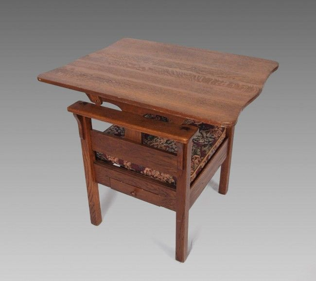121 ARTS  CRAFTS OAK CHAIR CONVERTS TO TABLE on  parson