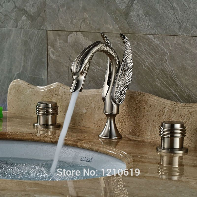 Uythner Newly 3Pcs Luxury Basin Faucet Dual Handles Nickel Brushed ...