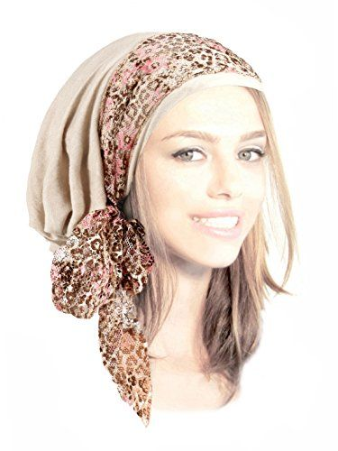 6f7d6dd9ef4a2 New Boho Chic Head-Scarf Tichel Embellished with Fancy Pink Floral Lace.    26  nanaclothing offers on top store