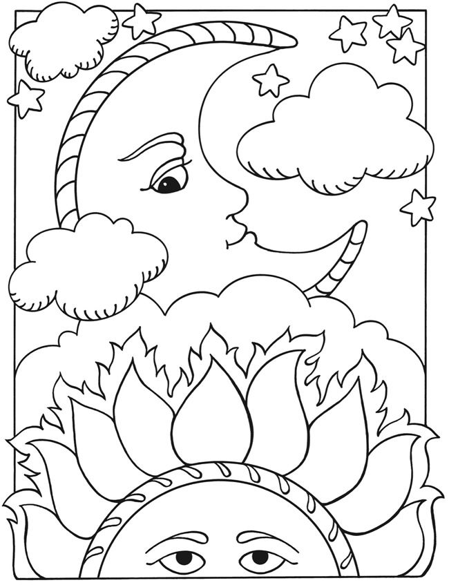 free coloring pages moon and stars | Welcome to Dover Publications Let's Color Together -- Sun ...