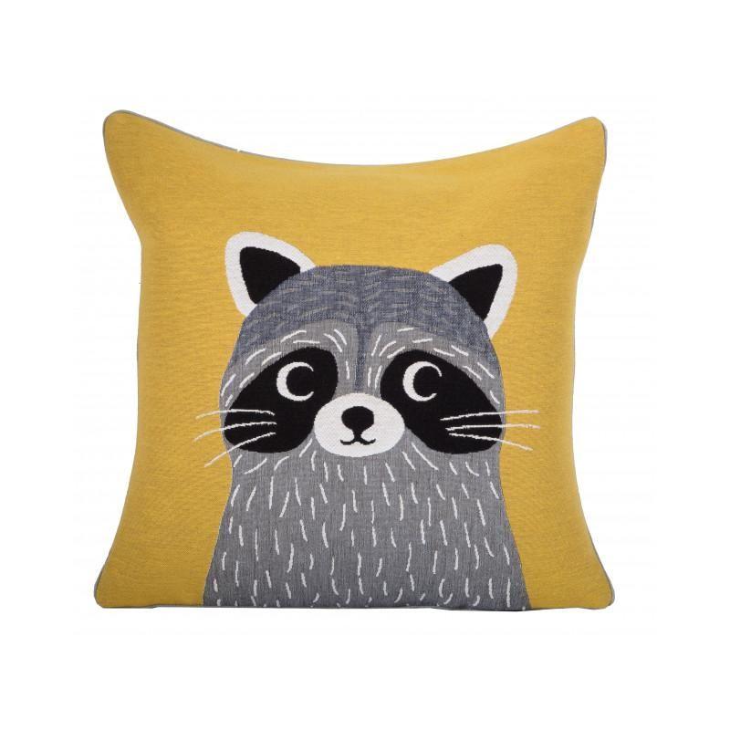 coussin enfant jaune raton laveur iosis mon chalet design coussins pinterest coussin. Black Bedroom Furniture Sets. Home Design Ideas