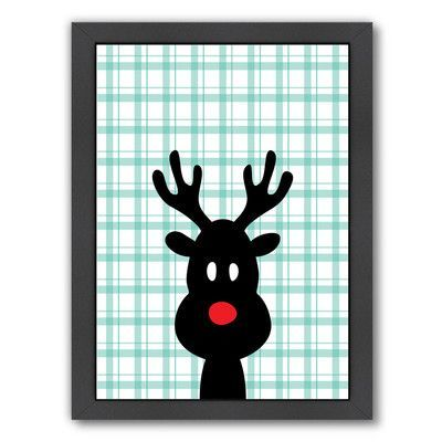 Americanflat 'Reindeer Christmas Print' by Ashlee Rae Framed Graphic Art Size: