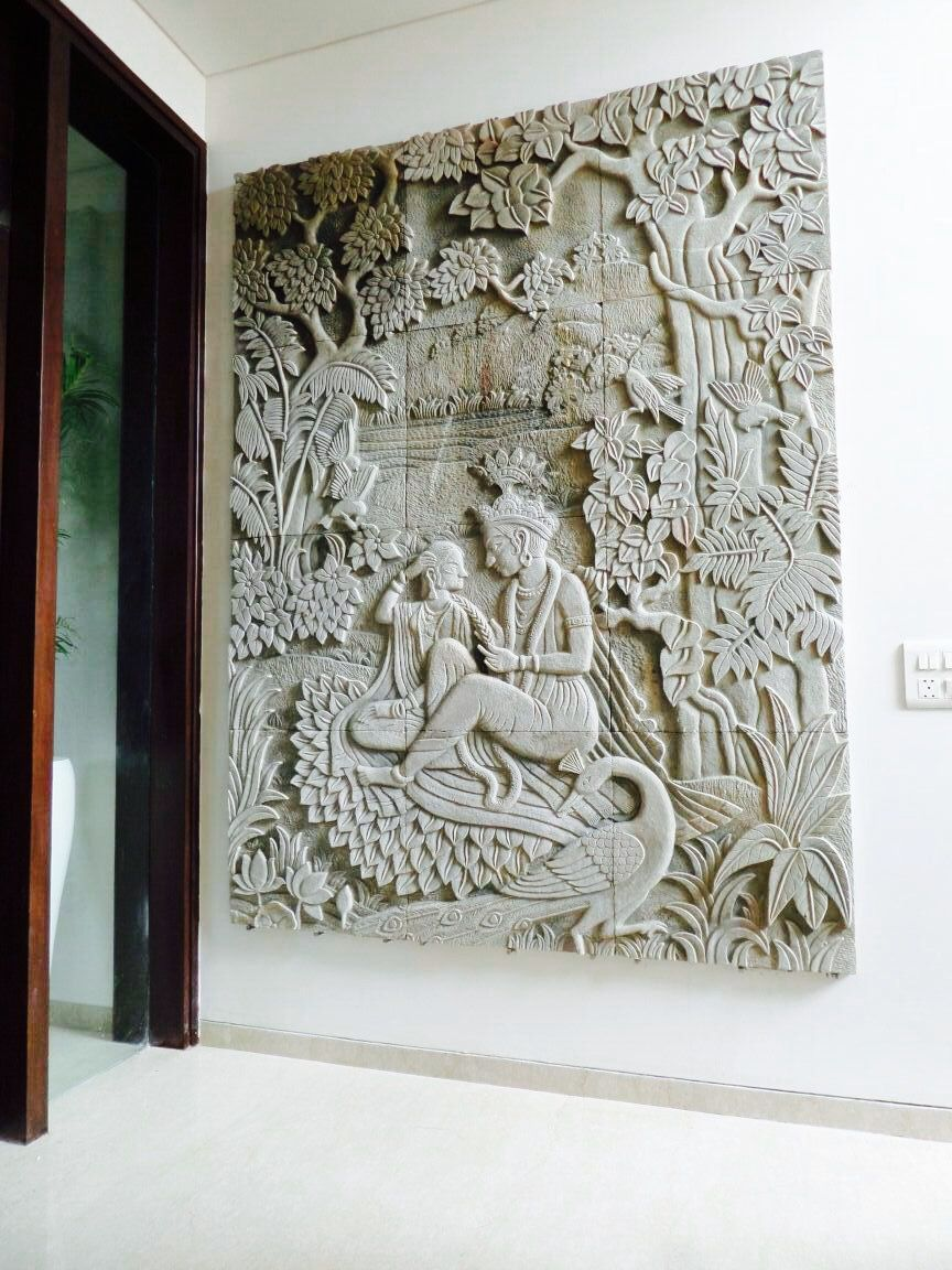 Stone Wall Mural Made By Stone Masons Of India Depicting A