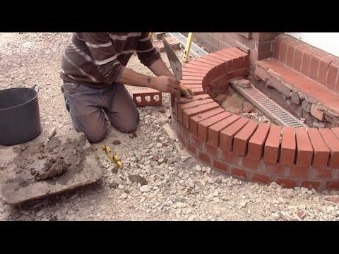 How to build a curved brick step - YouTube