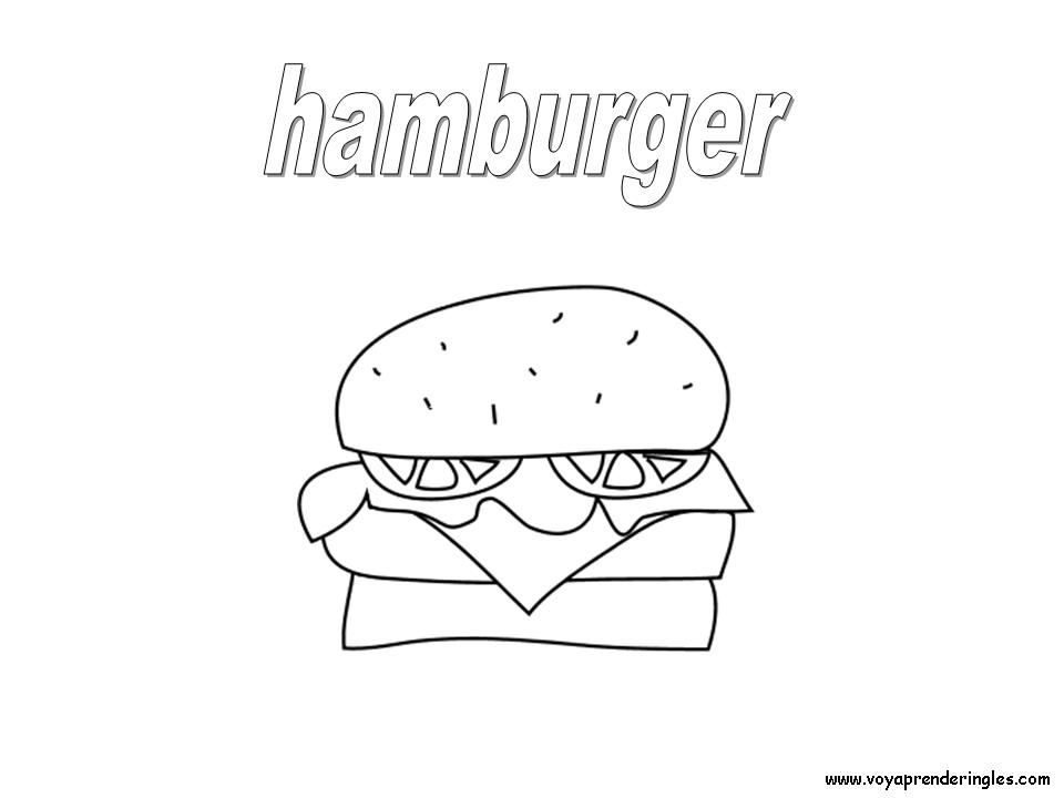 Hamburgers coloring pages | ... Láminas para Colorear en Inglés ...