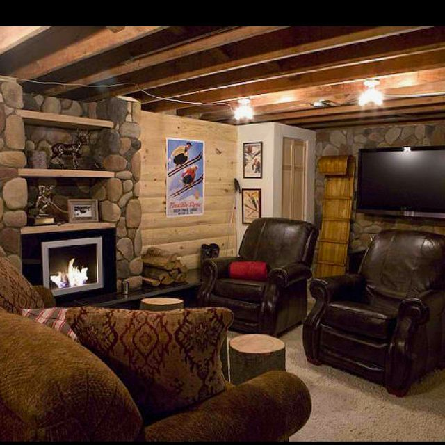 Garage Man Cave Ideas On A Budget: Man-cave In Basement Idea With Ski-chateau Theme. DIY