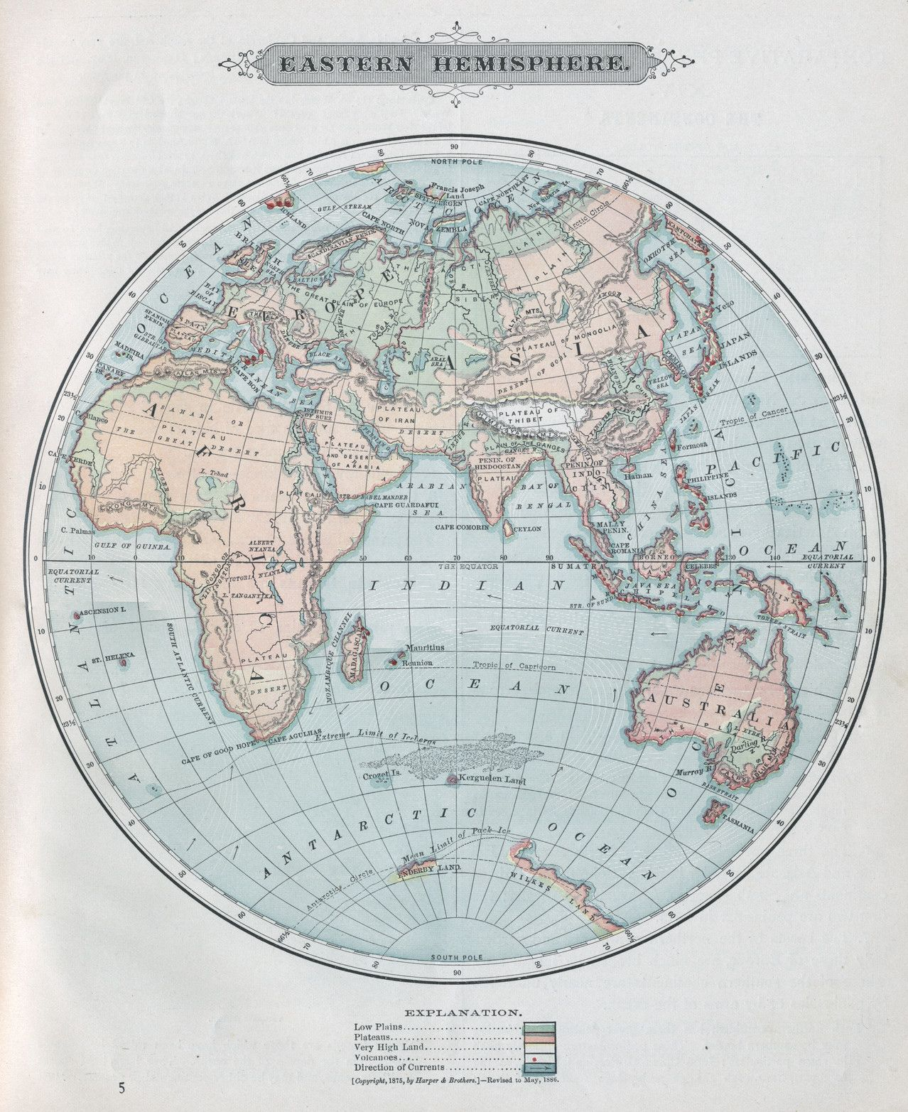 Old Map Of The Eastern Hemisphere Of The World