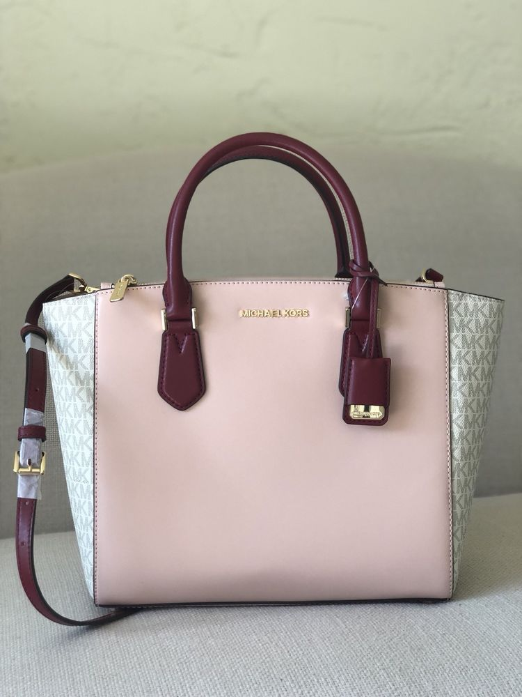 Michael Kors Carolyn Large Tote Vanilla Pastel Pink Mulberry Leather 192317769838 Ebay