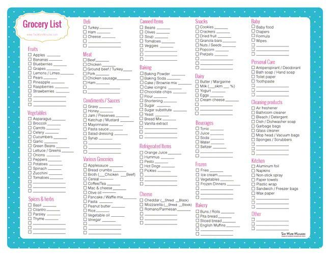 printable grocery list with categories Free Grocery List Printable