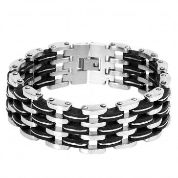 Stainless Steel With Black Rubber Link Bracelet