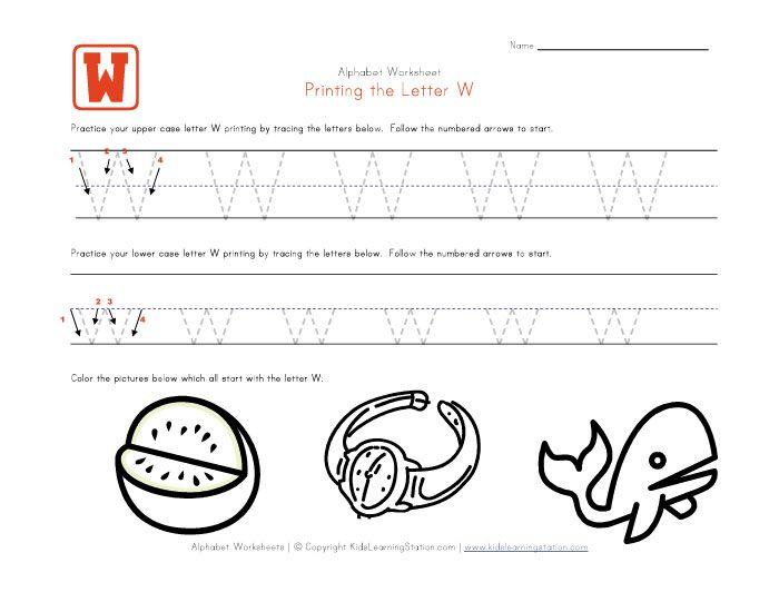Traceable Alphabet Letter W Worksheet Kids Learning Station Letter W Worksheets Tracing Letters Lettering Alphabet Tracing letter w worksheets for