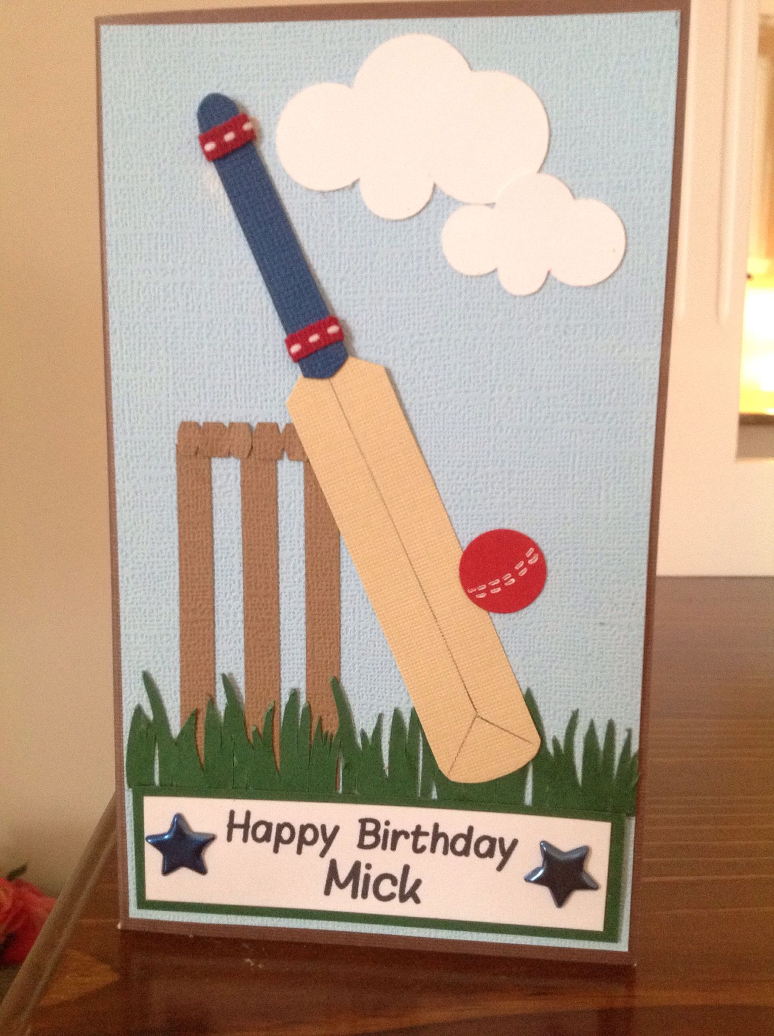 Cricket Bat Punch Art Card Birthday Cards For Boys Birthday