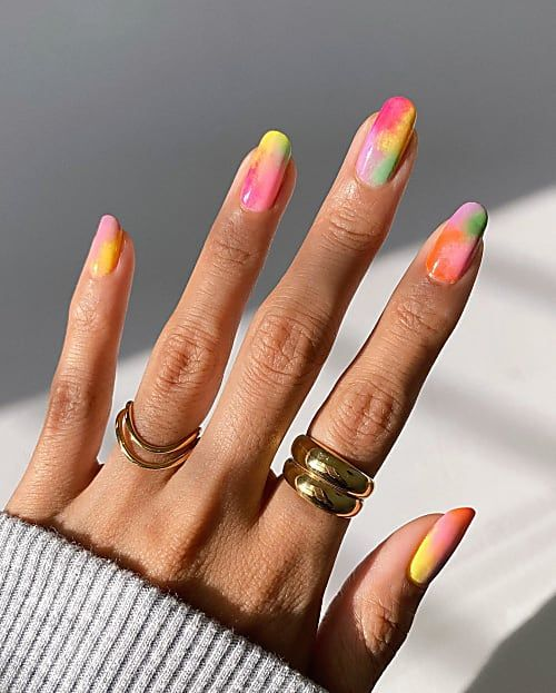 Rainbow Tie Dye Nail Is the New Obsession