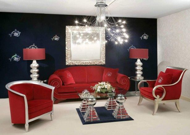 Marvelous Black And Red Living Room Ideas With Royal Red Comfortable Sofa  Also Magnificent Glass Table