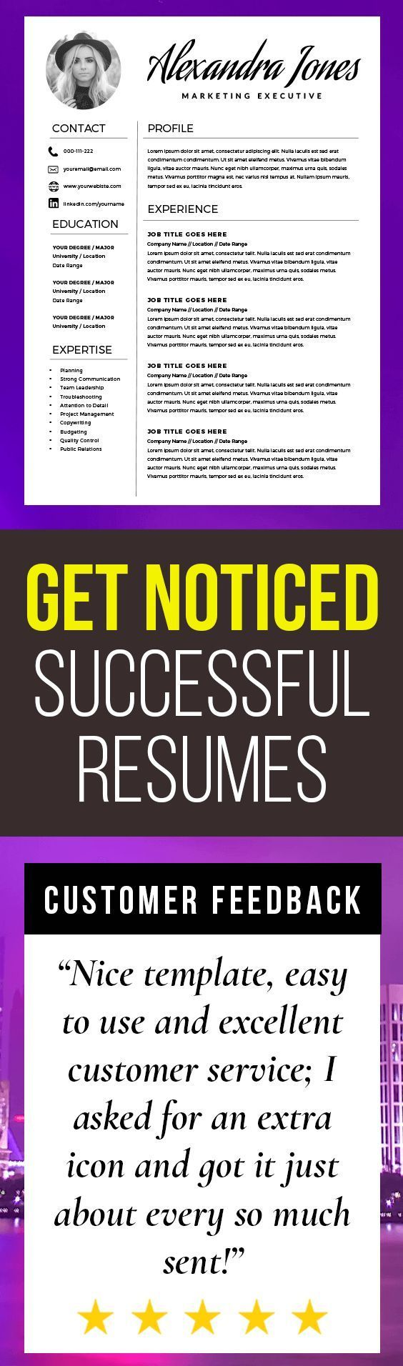Elegant Resume Template - Creative Resume - CV Template + Cover ...