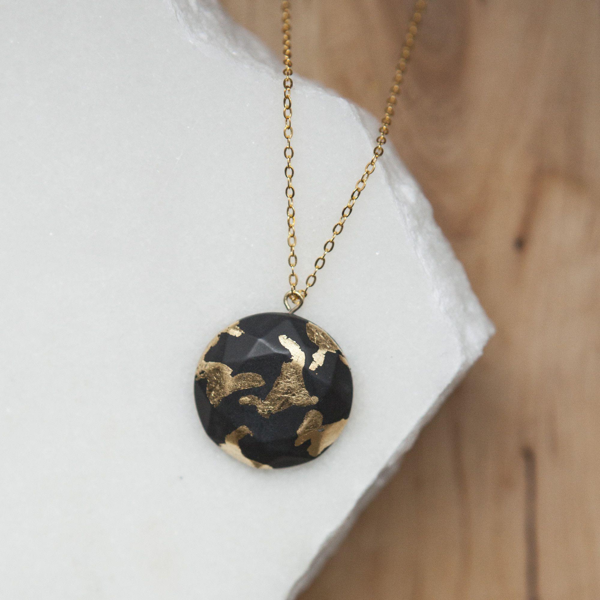 10b4de2eb32bd Concrete Gold Leaf Circle Necklace (Dark) | Products | Circle ...
