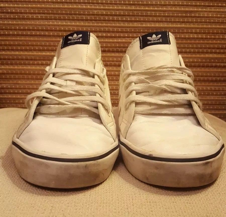 huge discount b1f52 5b68a Adidas Nizza Lo Leather Trainers White Navy Size UK 12 Mens   eBay