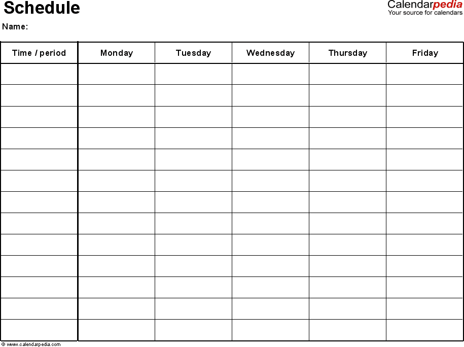 Excel Schedule Template 1 Landscape Format Page Monday To Friday 5 Day Week