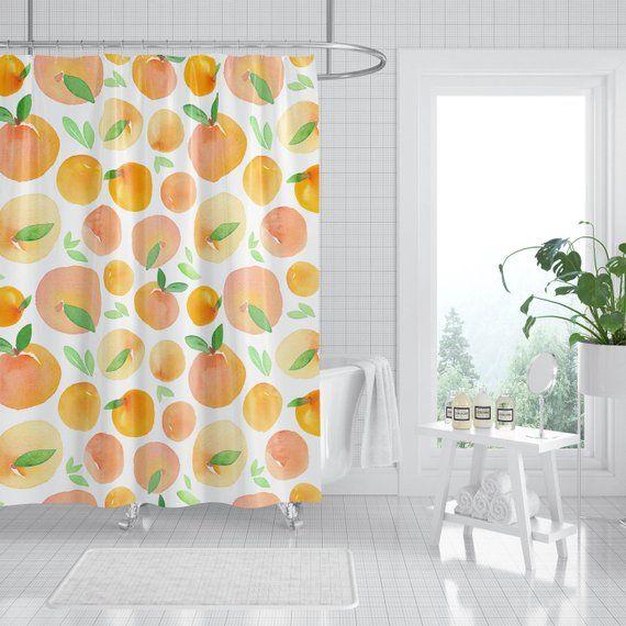 Peach Shower Curtain Shower Curtain Bathroom Decor Peach