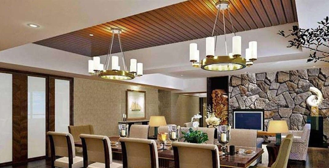 Dining room ceiling designs wooden ceiling installation for Interior design for dining area