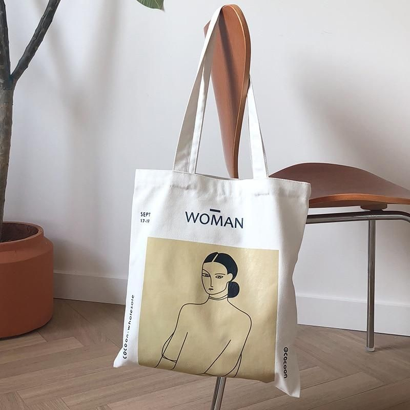 f02f569a825e Women Canvas Shoulder Bag in 2019 | aesthetic | Canvas shoulder bag ...