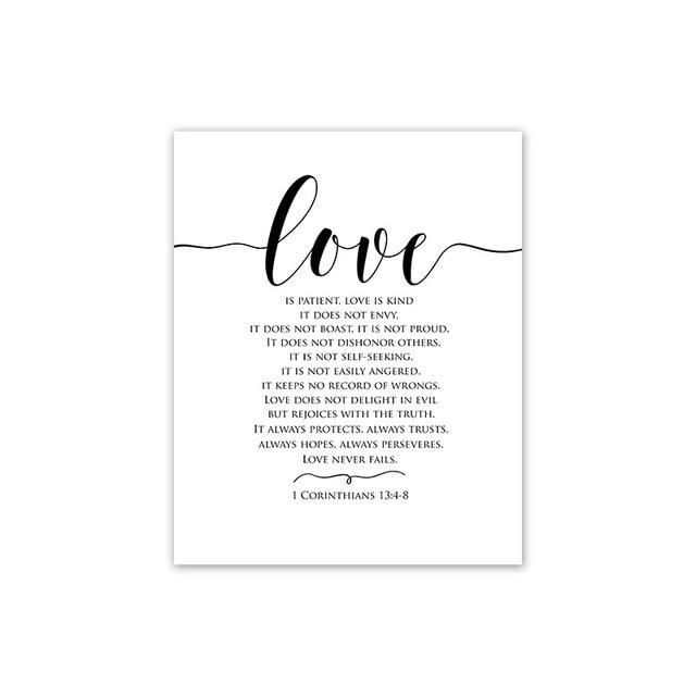 Type: Canvas Printings Form: Single Support Base: Canvas Medium: Waterproof Ink Subjects: Letter Frame mode: Frameless Mirrors Style: Modern Technics: Spray Painting Shape: Vertical Rectangle Frame: No Material: Canvas Love Poster: Black and White Decoration Picture: Minimalism