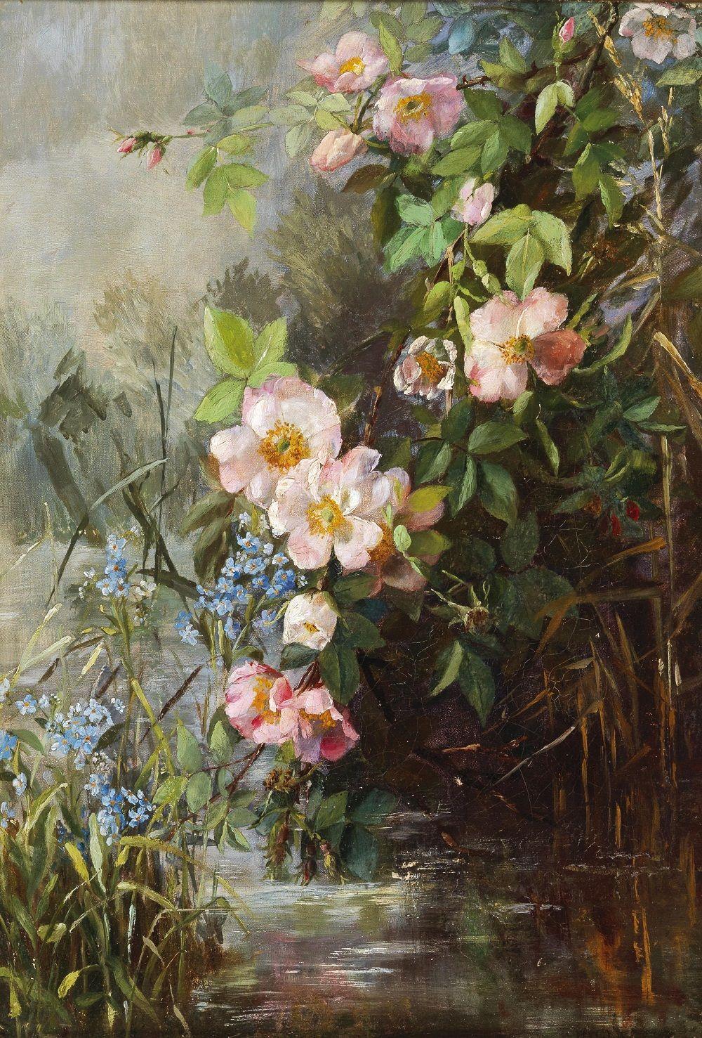 Künstler, Anfang des 20. Jahrhunderts Blumen am Teichufer