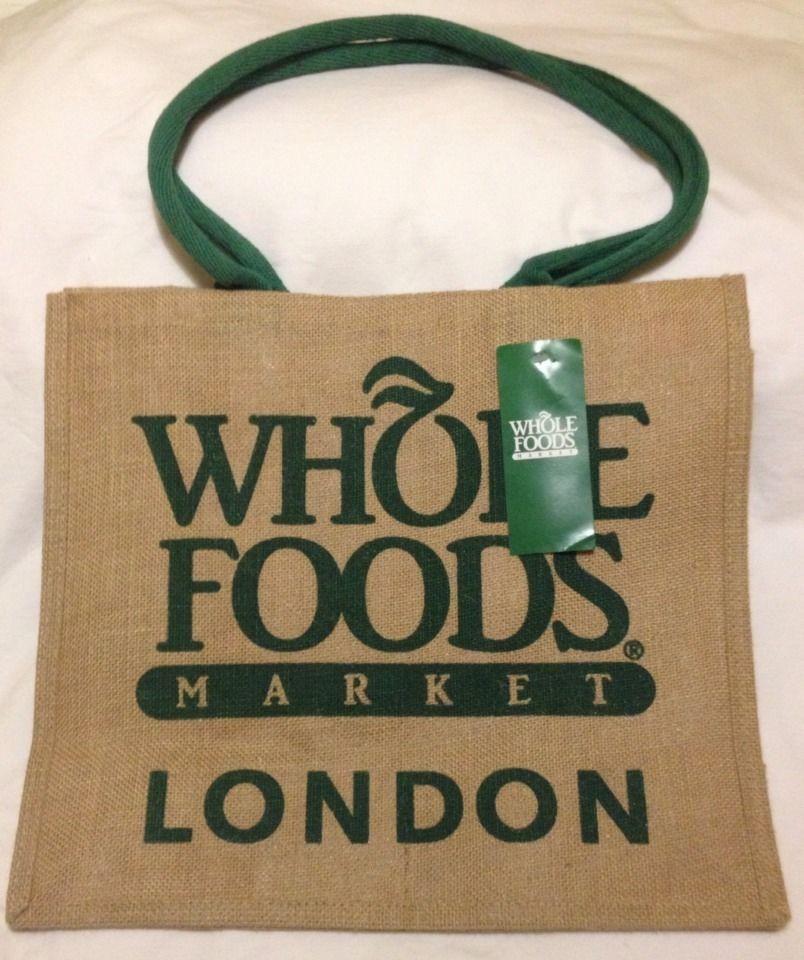 Whole Foods London Jute Bag Tote Burlap Green Brown Uk Gift Reuse England