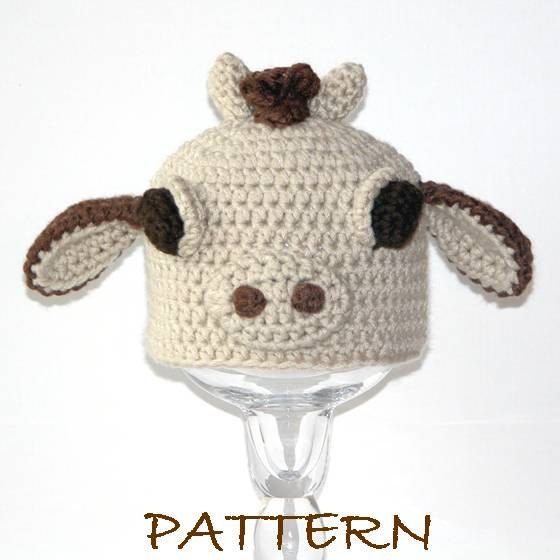 70749060f1c Crochet Baby Animal Hat Pattern - Baby Clementine the Cow Critter Hat - 3  sizes (preemie to 6 months).  6.95