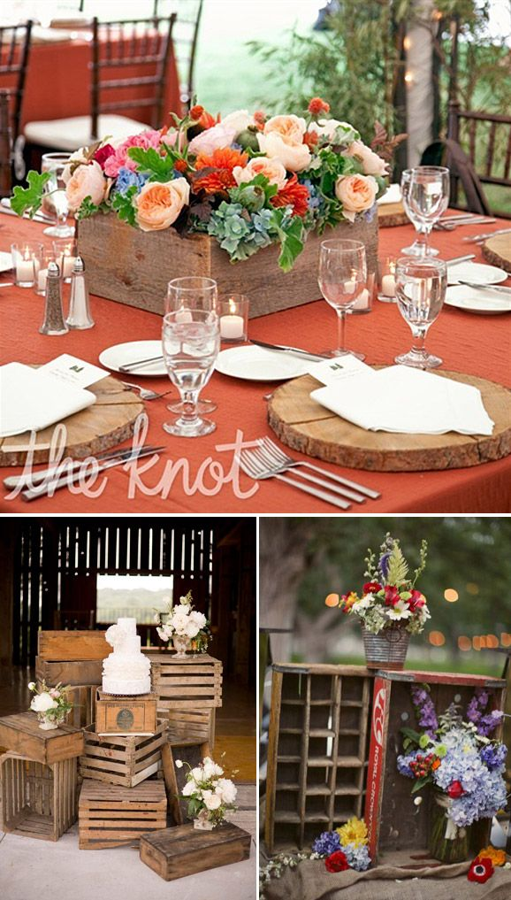 Decoraci n vintage para bodas cajas de madera wedding for Adornos de madera para pared