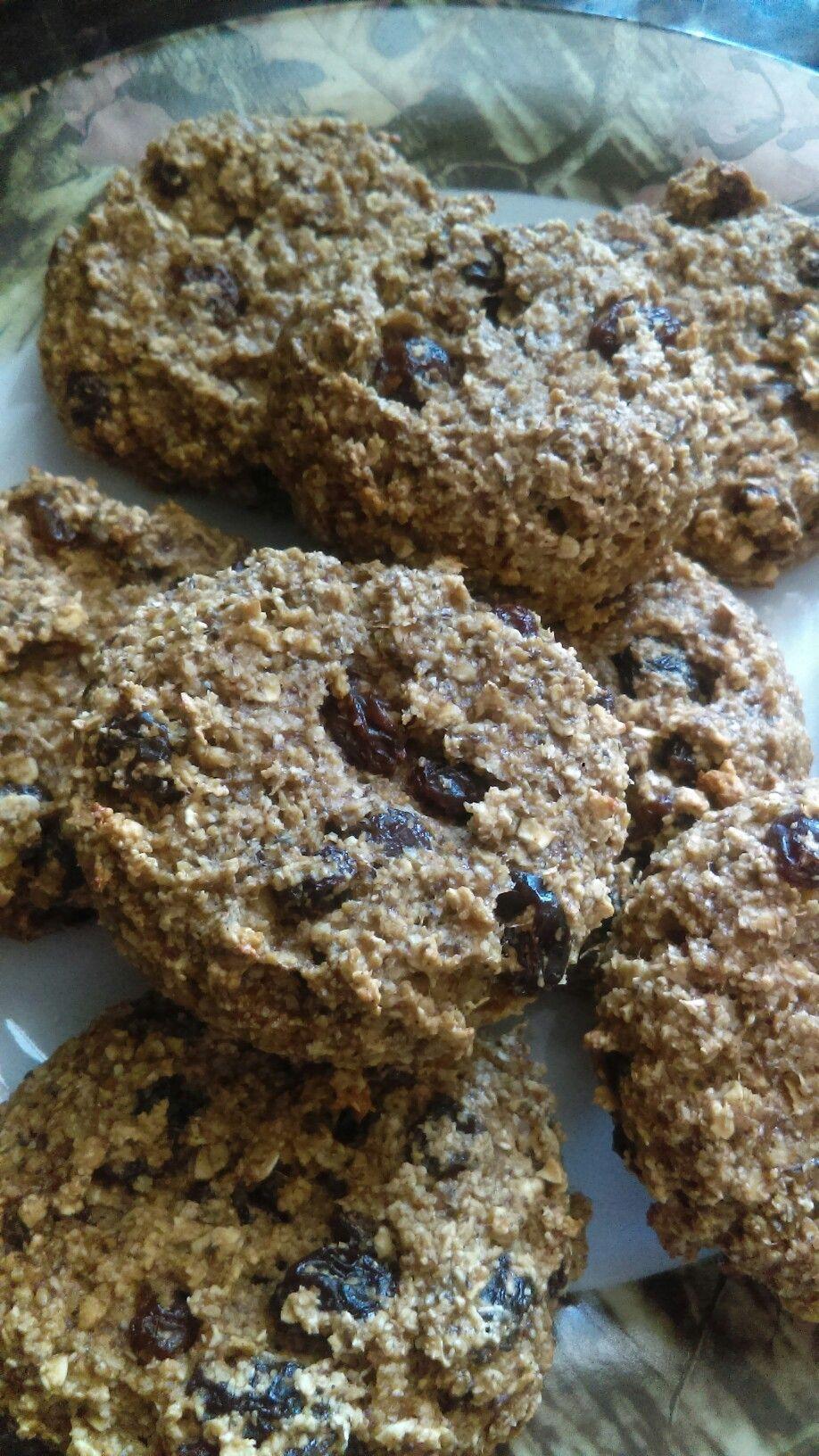 My breakfast cookies! 1 c  Oats 1c  Oat bran 2 eggs 1 ripe