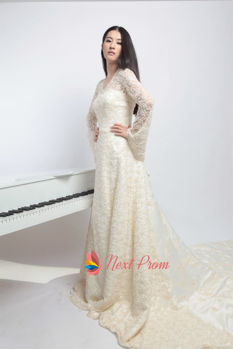 Elegant Wedding Dresses With Long Sleeves And Long Trains,Long ...