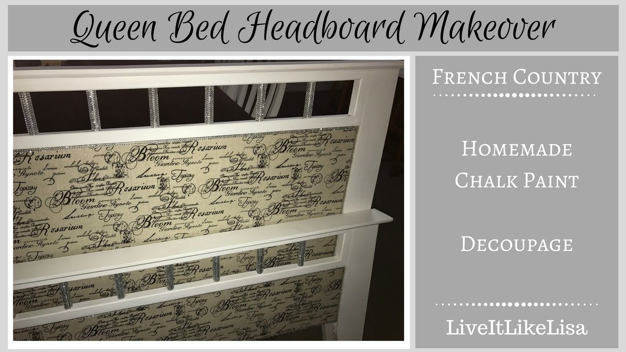 French Country Bed Makeover - Chalkpaint & Decoupage