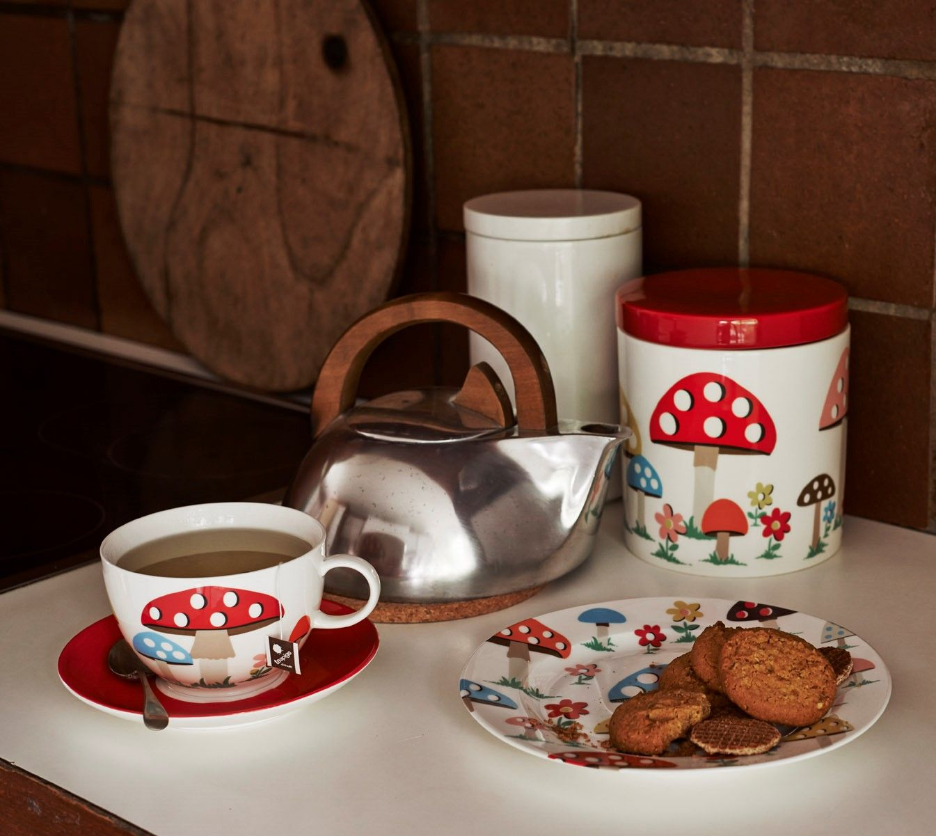 Mushroom china is our latest favourite brunch table eye candy. The biggest cuppa you've ever seen, a toast plate and novelty toadstool mushroom salt & pepper pots. #cathkidston