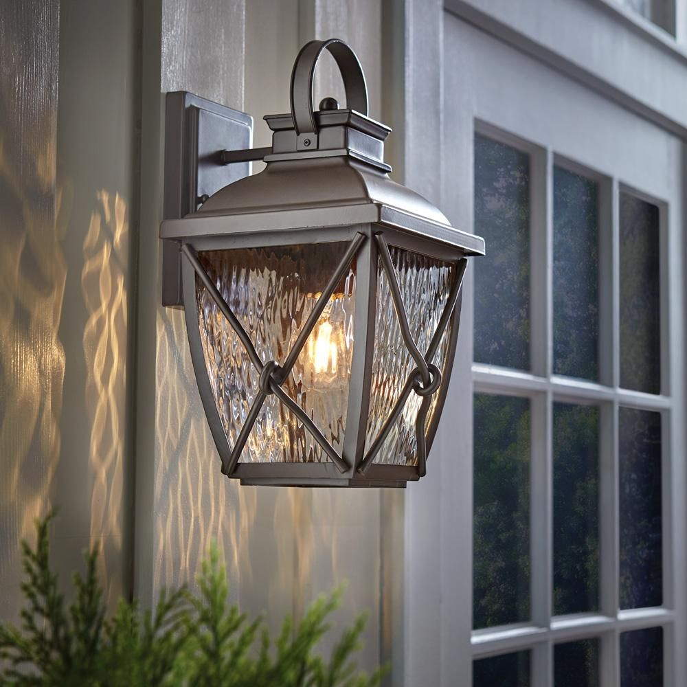 Home Decorators Collection Springbrook 1 Light Rustic Outdoor Wall Mount Lantern Hb7087 314 The Home Depot Outdoor Wall Lantern Wall Lantern Outdoor Walls