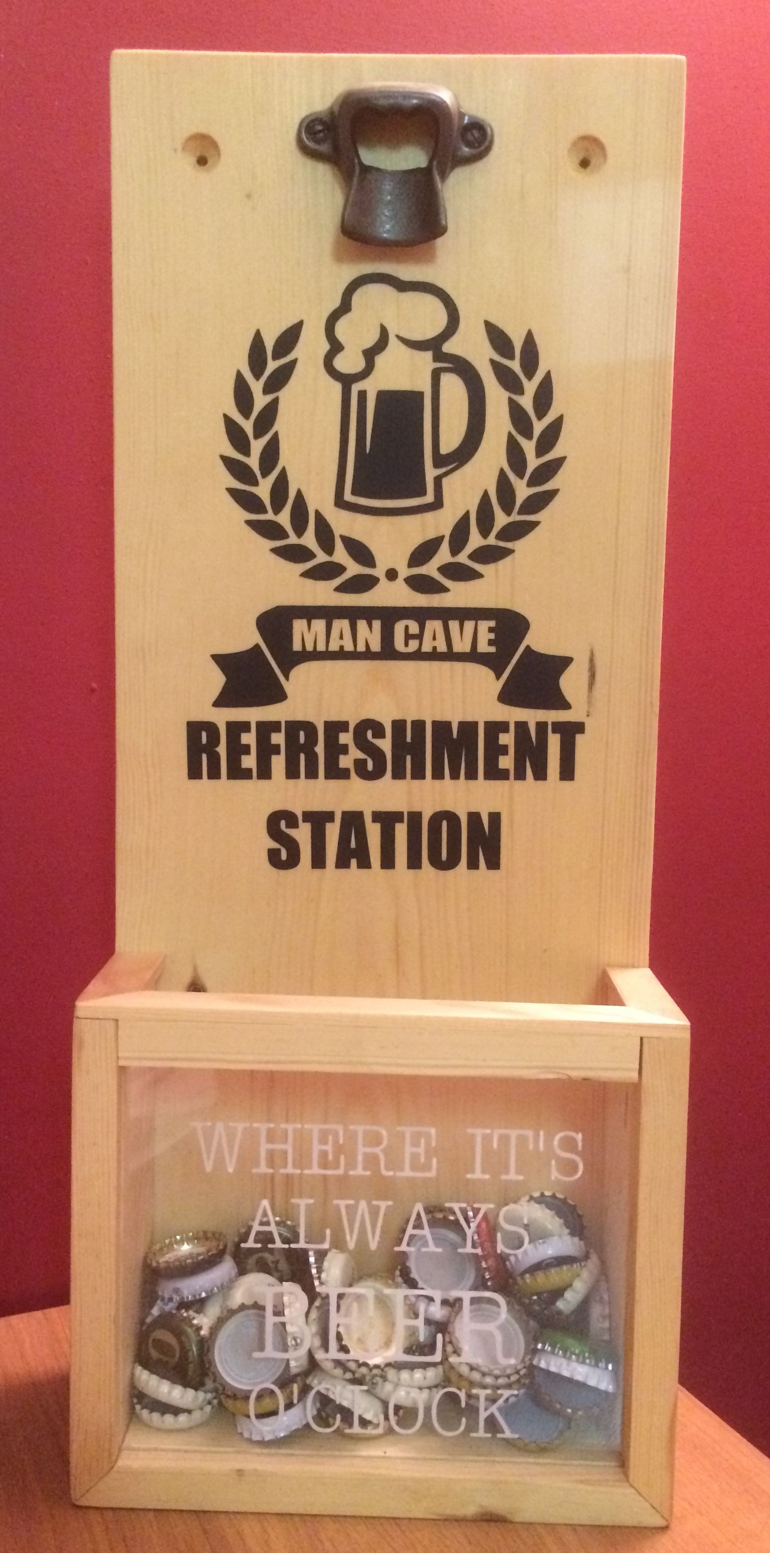 Bottle Cap opener with catcher - Man cave refreshment station