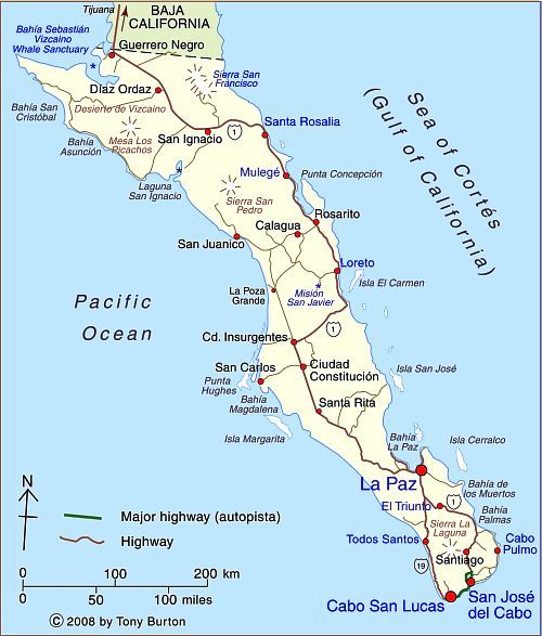 Map Of Baja California Sur Baja California Mexico Baja In 2019