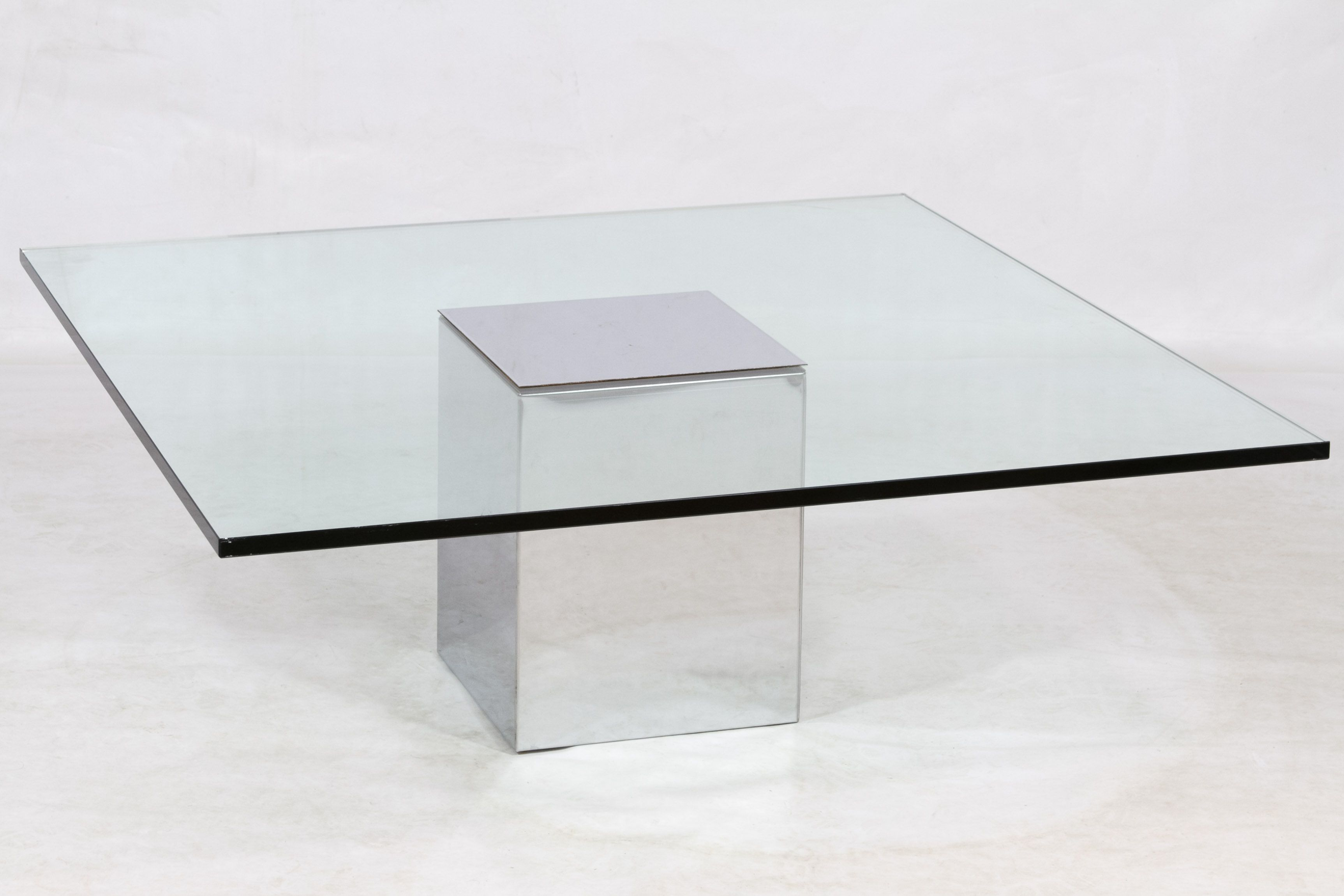 Lot 88 Glass and Chrome Coffee Table Having 3 4 inch thick glass