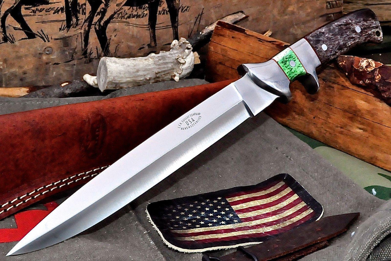 CFK USA Custom Handmade D2 Large Sub Hilt Subhilt Camel Bone Fighter Knife
