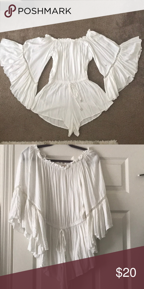 60f5808fa376 White off the shoulder romper White flutter sleeve off the shoulder romper