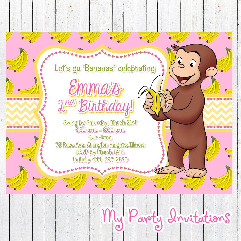Curious George Birthday Invitation, Banana, Pink, Girl, Girly ...