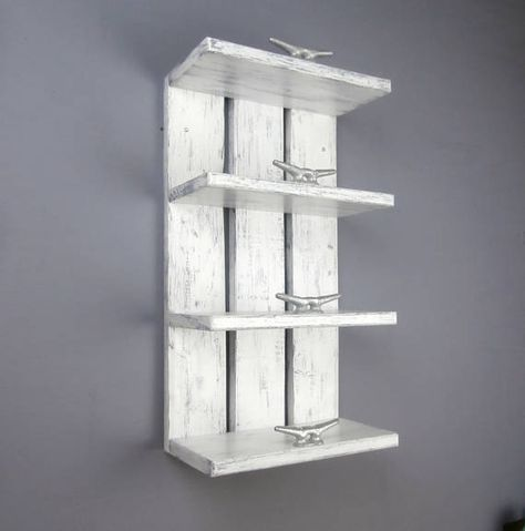 4 Tier White Wood Above Toilet Shelves Are Perfect For Your Rolled Towels This Nautical Decor Open Shelving Is De Toilet Shelves Nautical Bathrooms Shelves